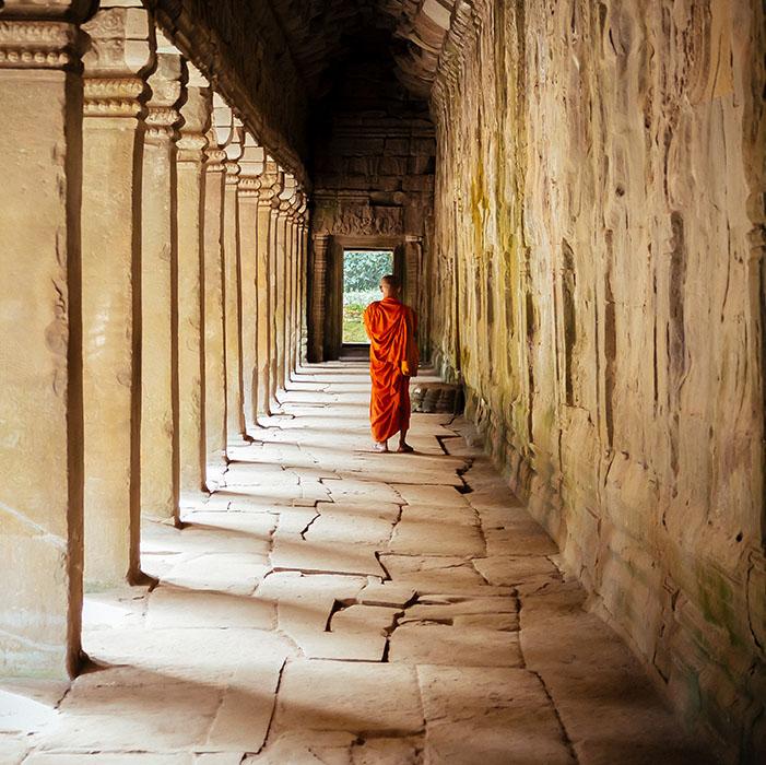 Temple, bouddhist monk, Angkor, Cambodia