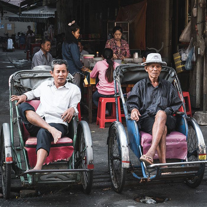 Cycle rickshaws , Phnom Penh, Cambodia