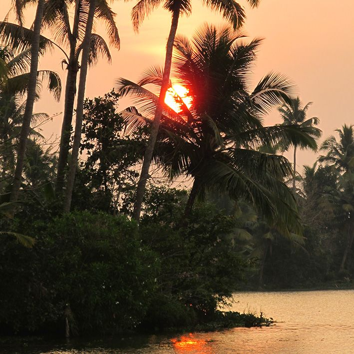 Sunset, Munroe island, India