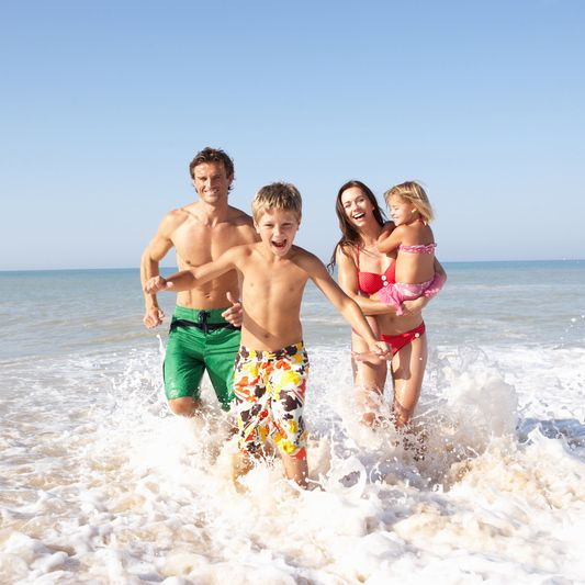 Family, Swimming, Indien Ocean, Sri Lanka