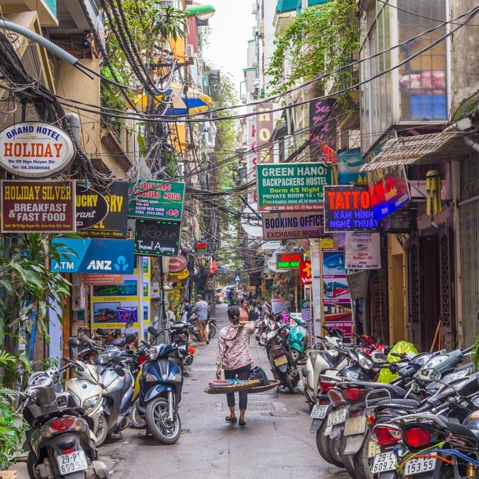 Vietnam, Hanoi, Street, Scooters