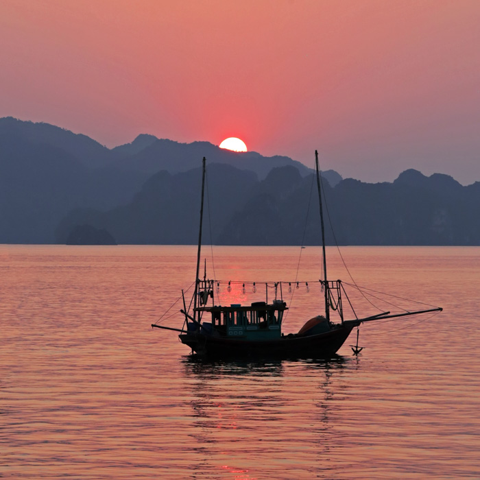 Vietnam, Sunset, Halong bay, Boat