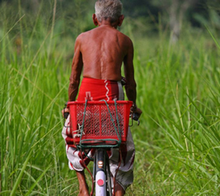 Man cycling in Sri Lanka